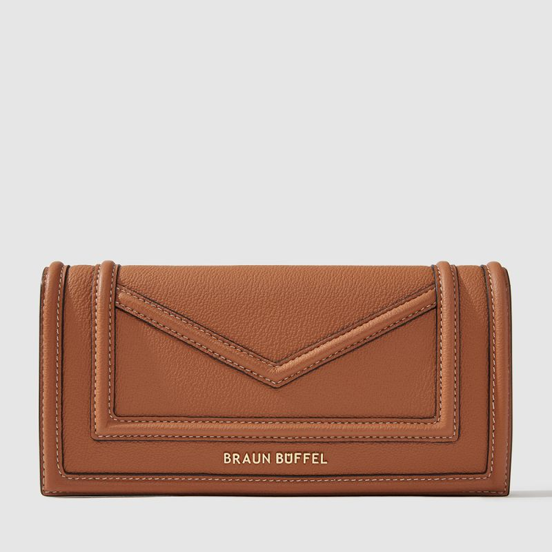CATE 2 FOLD LONG WALLET WITH ZIP COMPARTMENT (BOX GUSSET)