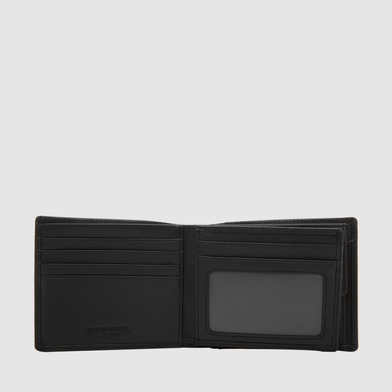 BLACK CENTRE FLAP WALLET WITH COIN COMPARTMENT